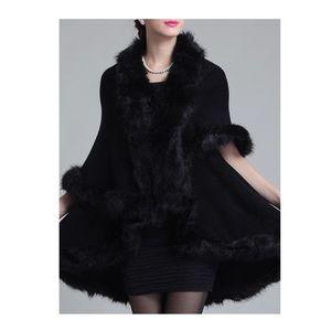 ELEGANT Black Faux Fur Double Layer CAPE Coat